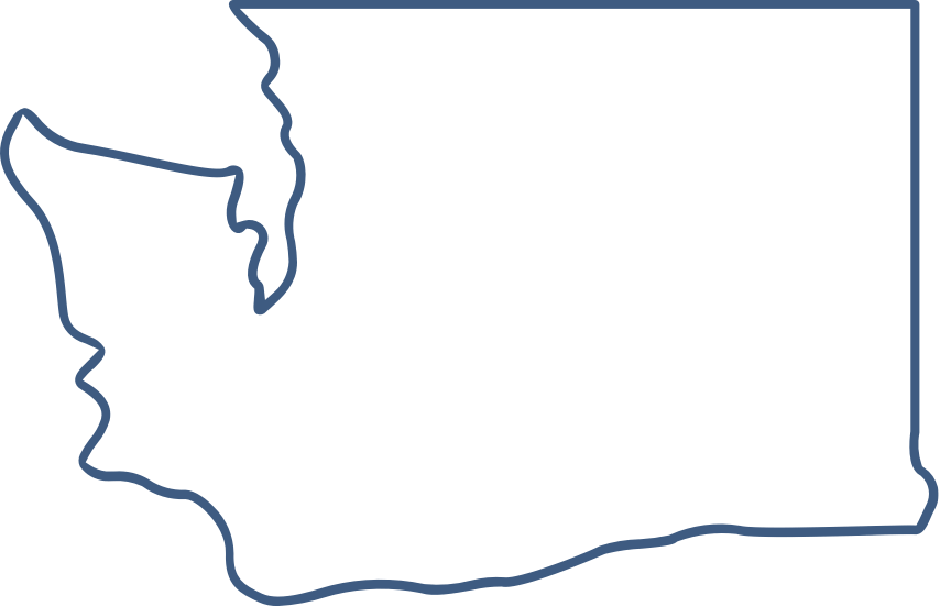 an outline of the border of Washington state